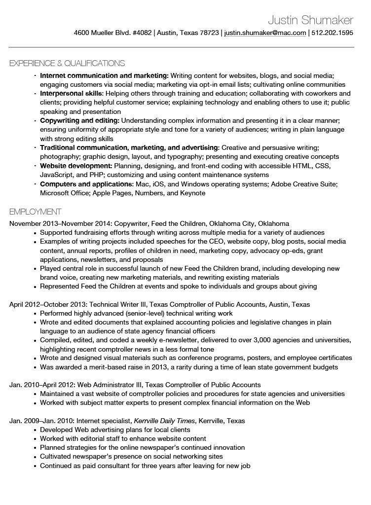 Justin Shumaker Résumé Page 1