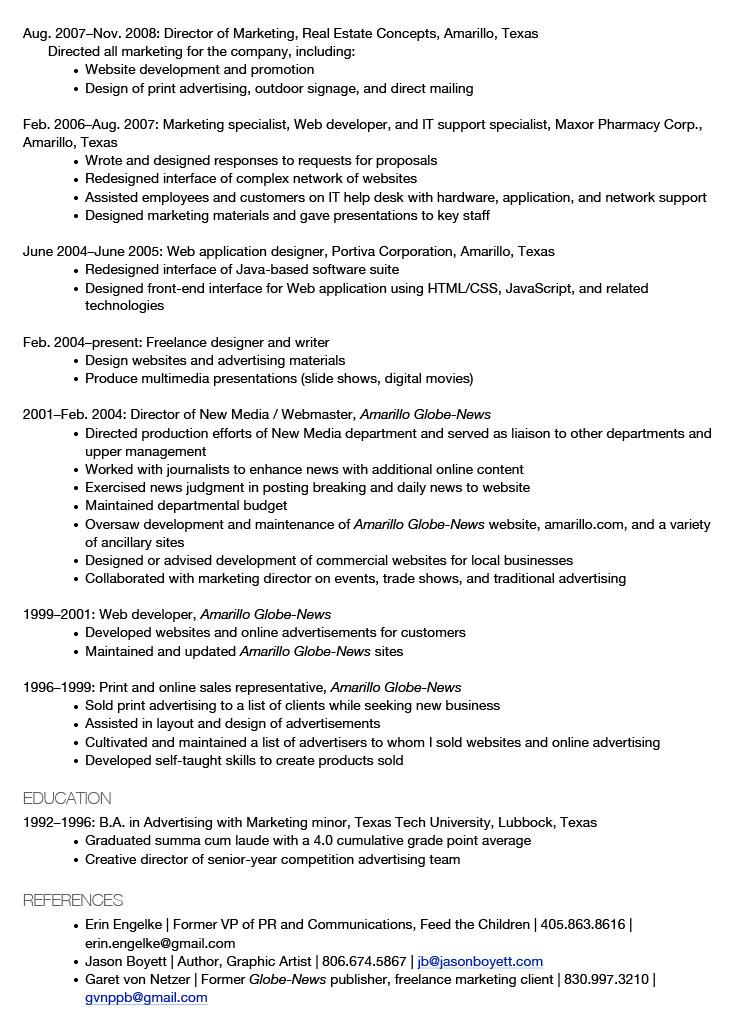 Justin Shumaker Résumé Page 2